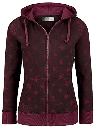 R.E.D. by EMP Star Hoodie Jacket Felpa donna bordeaux M