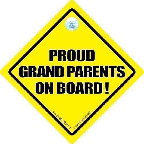 fier grands-parents SIGNE voiture, Panneau Bébéà bord Style, style autocollant, de voiture Grandparent NEUF à bord, à Grandad grand-mère Nana