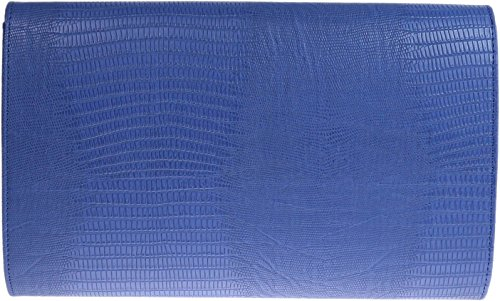 Ladies animale Croc stampa busta piatta sera pochette - Beige Royal Blue