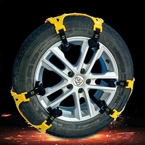 Lot de 6antidérapants Chaîne à neige universel TPU épaisse Chaîne de pneu de voiture antidérapant Ceinture de traction d'urgence avec double boucle pour l'hiver Snow Road