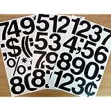 Pack de 76.2x7.6cm (75mm) Vinilo Negro Adhesivo números , autoadhesivo , adhesivo , Corte en forma de , impermeable números para letreros, vehículos, barcos, pósters & proyectos de escuela