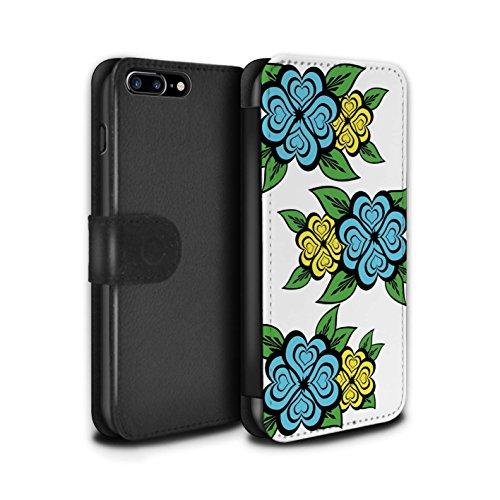 Stuff4 Coque/Etui/Housse Cuir PU Case/Cover pour Apple iPhone 7 Plus / Blanc/Turquoise Design / Roses Coeur Amour Collection Turquoise/Jaune
