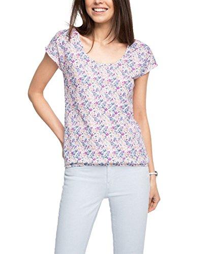 edc by Esprit 046cc1k024-Back Details, T-Shirt Femme Blanc - Weiß (WHITE 2 101)