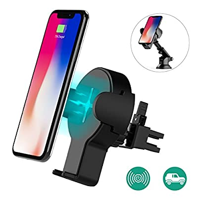 Caricabatterie Wireless Auto, Auckly Caricatore Wireless Veloce per Auto, Supporto 360° Girevole con base di carica per IPhone X / 8/8 Plus, Samsung Galaxy S8 / S8 Plus / Bordo S7 / S7, Note 5
