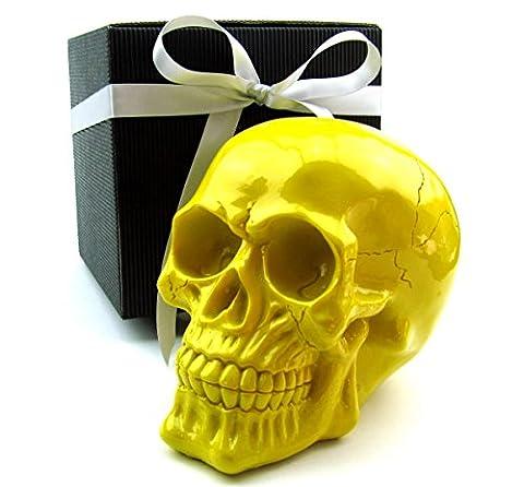 Deko Totenkopf, Toten-Schädel, Skull, stylische Farben im Geschenk-Set, in eleganter schwarzer Geschenk-Box mit Schleifenband, Geschenk für Frauen, Männer, Gothic, Mystik, Fantasy, Dekoration, Party-Geschenk, Halloween (gelb glanz)