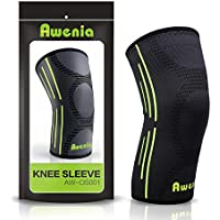 Awenia Kniebandage Kompression Knieschoner Atmungsaktiv Knieschützer Unterstutzung für Laufen, Joggen, Arthritis, Sport, Gelenkschmerzen