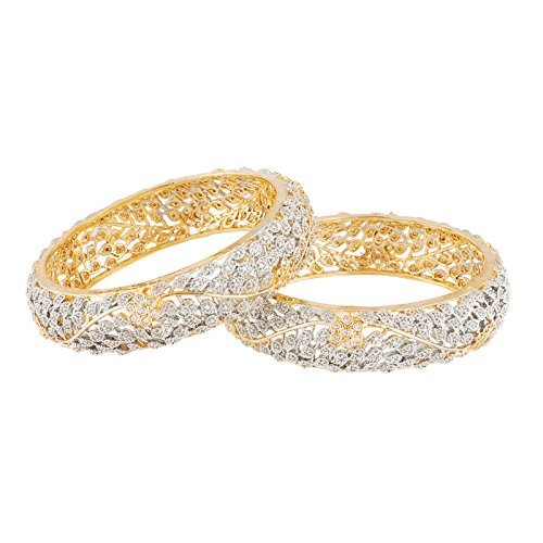 Manikya Gold American Diamonds Bangles Size - 2.6