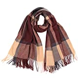Dorical Damenmode Winter Plaid Schal Quaste Wrap Tücher Stirnband Soft Schal lange Schal Abstand