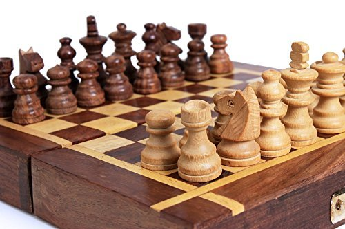 Store Indya Store Indya Classic Wooden Chess Set With Foldable Chess Pieces Travel Indoor Game