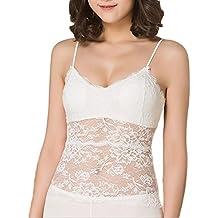 Da.Wa Fondo Vestido de Encaje para Mujer Sin Mangas Ropa Interio Color Blanco
