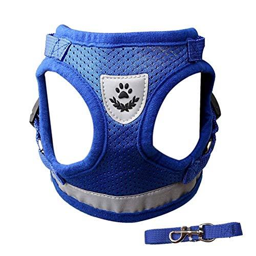 YHEGV Hundegeschirr Universal mit Leinengarnitur, Fluchtsicheres Katzengeschirr Verstellbares, reflektierendes, weiches Netz-Cordgeschirr Best Pet Supplies, Blau, XL