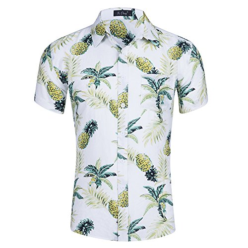 Kuson Urlaub Strand Hawaiihemd Shirt Freizeithemd Kurzarm mit modischem Druck Ananas M (Ananas Hawaii-shirt)