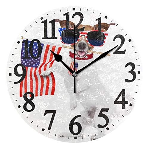 Ahomy Wanduhr, geräuscharm, rund, Motiv: Jack Russell Hund, USA-Flagge, 25 cm, für Wohnzimmer, Schlafzimmer und Küche -