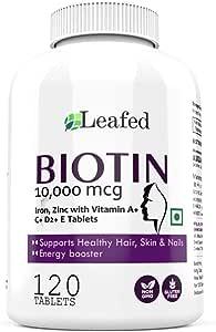 Leafed Biotin 10000mcg Maximum Strength with Zinc, Iron & Vitamin E, A, C , D2 for Hair Skin & Nails - 120 Vegetarian Tablets