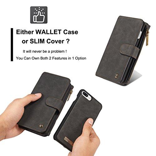 Apple iPhone 7 Hülle - Kuhfell Spaltleder 14 Kartenfächer, Reißverschluss Brieftasche Combo Schutzhülle für Apple iPhone 7 - Braun Schwarz