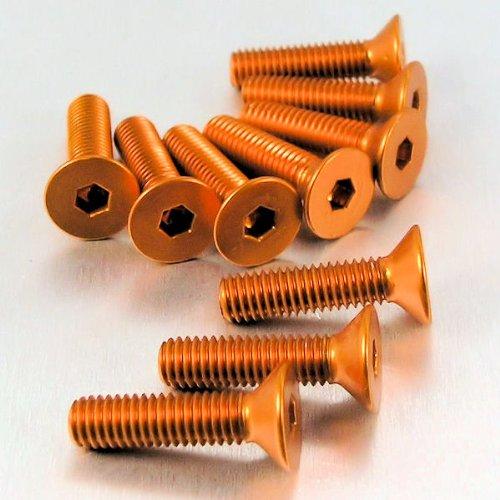 Aluminio perno avellanado M5x (0.8mm) X 20mm unidades X 10naranja