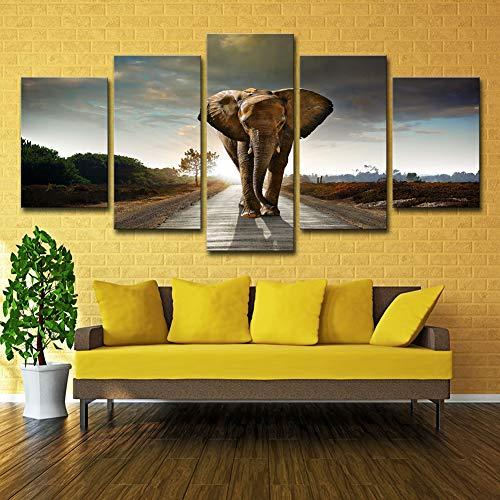 ZEMER Animal Pintura Pared Arte Elefantes Africanos Imagen CuadrosEn Lienzo 5 Unidades...