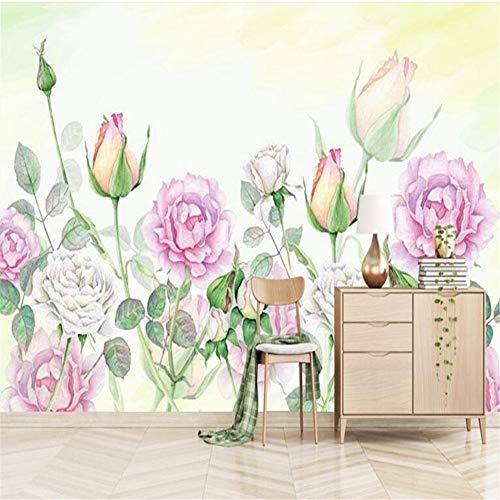 Sucsaistat 3 D Moderne Minimalistische Handgemalte Rose Pfingstrose 3D Wandbilder Freie Tapete Wohnzimmer Desktop Wand, 300 * 210 cm