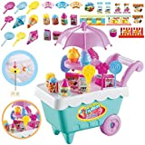 Baby Kids Playing House Toys, 19pcs Cake Ice Cream Shop Truck Pretend Play Food Supermarket Music Light Carts Trolley For Boys Girls