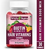 Simply Nutra Hair Vitamin Gummies with Biotin 5000mcg Serve - 30 Count (1)