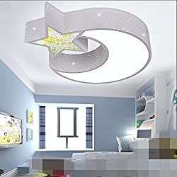 GK-Semplice ed elegante soggiorno è accogliente e romantica camera da letto marrone chiaro fuori scala alla luce della luna e delle stelle della lampada LED lampada da soffitto ferro tre tonalità luce 52cm,white