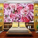 3d wallpaper foto wallpaper murale, soggiorno fiori rosa rosa 3d pittura divano TV sfondo muro Non tessuto, adesivo 280 cm (L) x 180 cm (H)