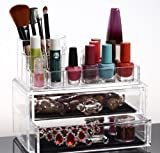 HQdeal Acrylic Cosmetic Organizer Makeup Organiser Case Holder with 2 Drawers M1065