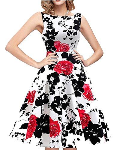 Damen 50s Vintage Rockabilly Kleid Festliches Kleid Partykleider ärmellos Ballkleid Abendkleid Mit Blumen Print Rot Rose