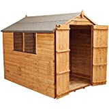 WALTONS EST. 1878 8x6 Wooden Garden Storage Shed, Overlap Construction Dip Treated with 10 Year Guarantee, With Window, Double Door, Apex Roof, Roof Felt & Floor Included, (8 x 6 / 8Ft x 6Ft) 3-5 Day Delivery