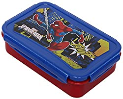 Marvel Spider Man Plastic Lunch Box Set, 3-Pieces, Multicolour (HMLILB 00736-SPM)