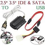 HKFV SATA/PATA/IDE zu USB 2.0 Adapter Konverter Kabel für 2.5/3.5 Festplatte DVD SATA/PATA/IDE zu USB 2.0 Adapter Konverter Kabelsatz IDE & SATA to USB Adapter