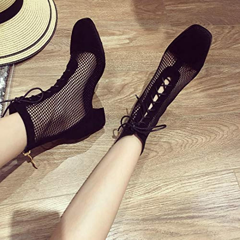 HRCxue Tacco a Spillo Net Sexy Sandali con Cinturino Nero Maglia Scarpe Romane Scarpe Cool, Nero, 39 | Prestazioni Affidabili  | Scolaro/Signora Scarpa