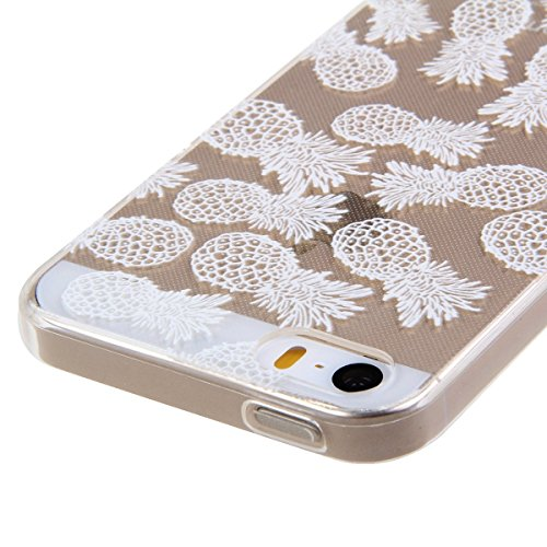 Etsue TPU Silikon Hülle für iPhone SE/iPhone 5S Aztec Tribal Henna Floral Mandala Blume Muster, Bunte Malerei niedlich Karikatur Retro Painted Transparent Handyhülle Soft Back Cover Ultra Slim Weiche  Weiß Blumen muster #2