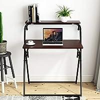 Beliwin Folding Computer Desk, 2-Tier PC Table for Home Office Study Workstation-Black Walnut