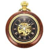 ManChDa Abierto de la Cara Romano Cobre Madera Reloj de Bolsillo mecánico Steampunk Esqueleto Negro para los Hombres Mujeres con Cadena + Caja Regalo (1. Madera)