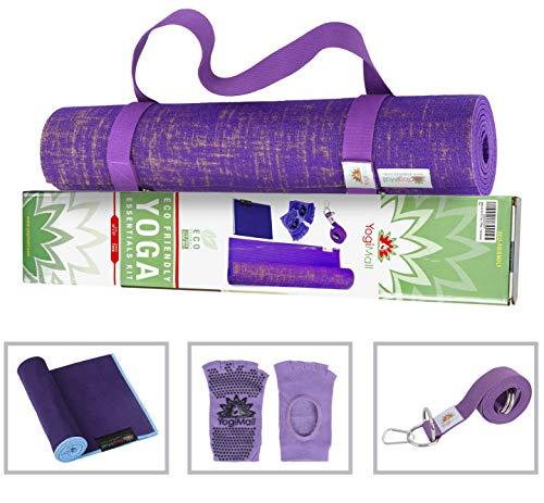 YogiMall Natürliche Jute Yogamatte Set - Umweltfreundlich, Rutschfeste Reversible Yoga-Matte-Kit Lila -
