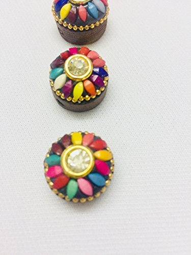 5 Pieces of wood buttons beautifully crafted with stone for kurtis ethnic dresses indo western tops growns blouses