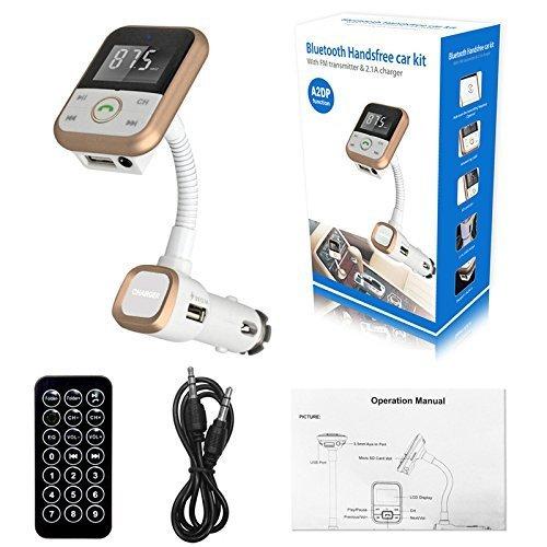 Bluetooth FM Transmitter MP3-Player mit Dual USB Car Charger mit 3.55mm AUX-In-Anschluss Funk-Kfz-Kit Music Control und Freisprechen Unterstützung SD-Karte/USB für iPad iPhone Samsung Smartphone (Wireless Control Kit)