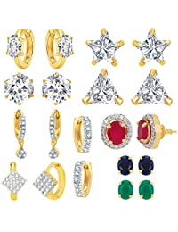 Jewels Galaxy Multicolor Gold-Plated Alloy Stud Earring Set For Women