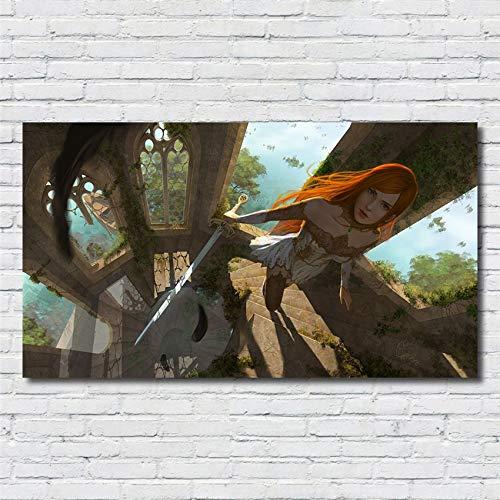 XWArtpic Klassische Online Spiel Mädchen Charakter HD druckplakat wandkunst Wohnzimmer Kinderzimmer Wohnzimmer Wohnkultur Bild leinwand malerei 60 * 110 cm