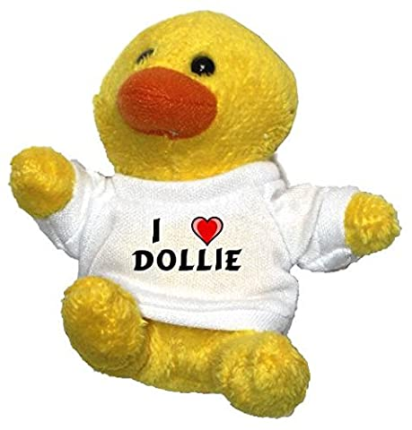 Chicken Plush Keychain with I Love Dollie (first name/surname/nickname)