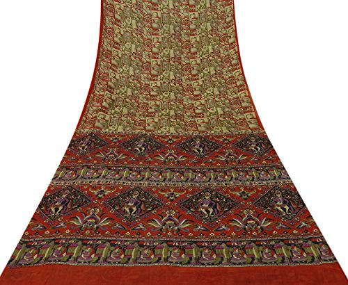 Vintage Indische Reine Seide Multicolor Saree Abstract Printed Ethnische Craft Fabric