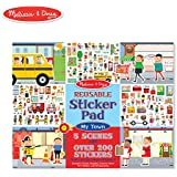 Melissa & Doug Reusable Sticker Pad - My Town (Extra Large Sticker Activity Pad, Removable Backgrounds, 200 Cling-Style Stickers)