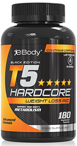 T5 Hardcore® Erweiterte wärmeentwickelnder Fettverbrenner | Schlankheitspillen zur Gewichtsreduzierung und als Appetitzügler (180 Vegetarische Kapseln)