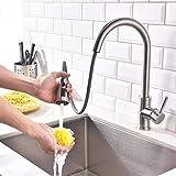Derpras Wasserhahn Küche Mischbatterie 360° drehbar Küchenarmatur Spülbecken Armatur ausziehbar Brause Spültischbatterie Spültischarmatur für Küche und Badezimmer
