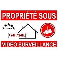 """Autocollant de dissuasion """"Propriété sous vidéo surveillance"""" lot de 10 pièces AS50"""
