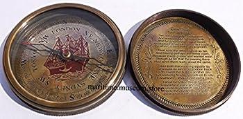 7,6Cm Steampunk T Cook Große Sammlerstück Messing Kompass Mit Leder Fall–Mit Robert Frost Gedicht Kompass. C-3016 3