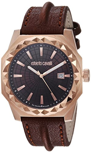 Roberto Cavalli by Franck Muller Men's 'PYRAMID BEZEL' Swiss Quartz Stainless Steel and Leather Casual Watch, Color:Brown (Model: RV1G018L0026)