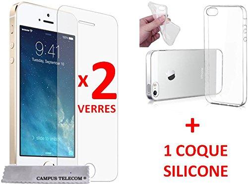 2 Films en verre trempe incassable Apple Iphone 5 5s 5c 5se SE + 1 Coque gel silicone OFFERT by Campus Telecom®