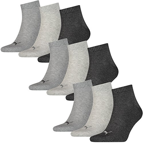 Puma Socken Quarter Sneakers Damen, Herren 9er Pack (Grau Mix, 39-42 (UK 6-8))